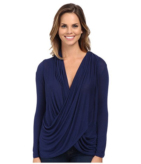 Culture Phit - Cowl Neck Long Sleeve Top (Navy) Women's Clothing