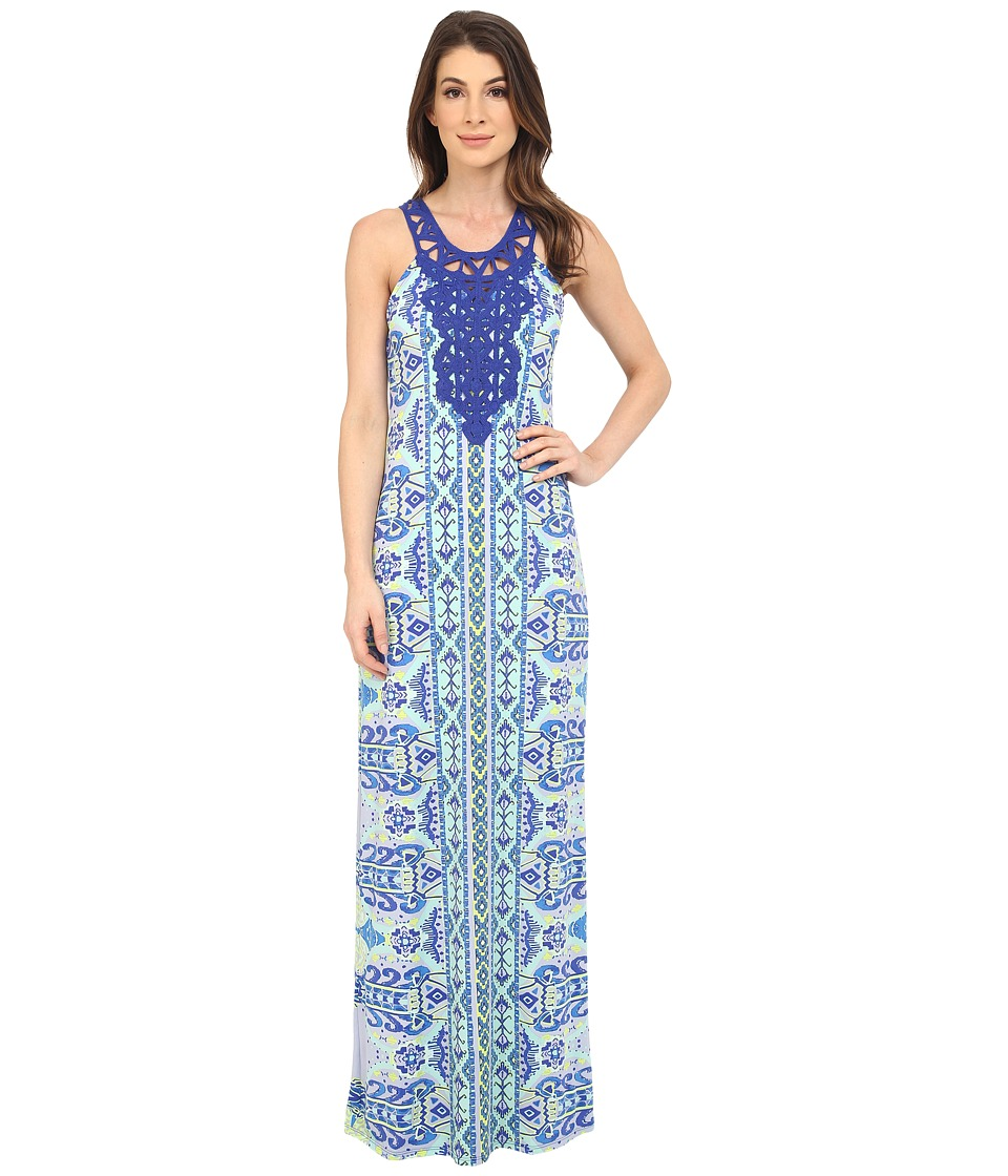 Hale Bob - Eye Candy Maxi Dress w/ Crochet Neckline (Blue) Women's Dress