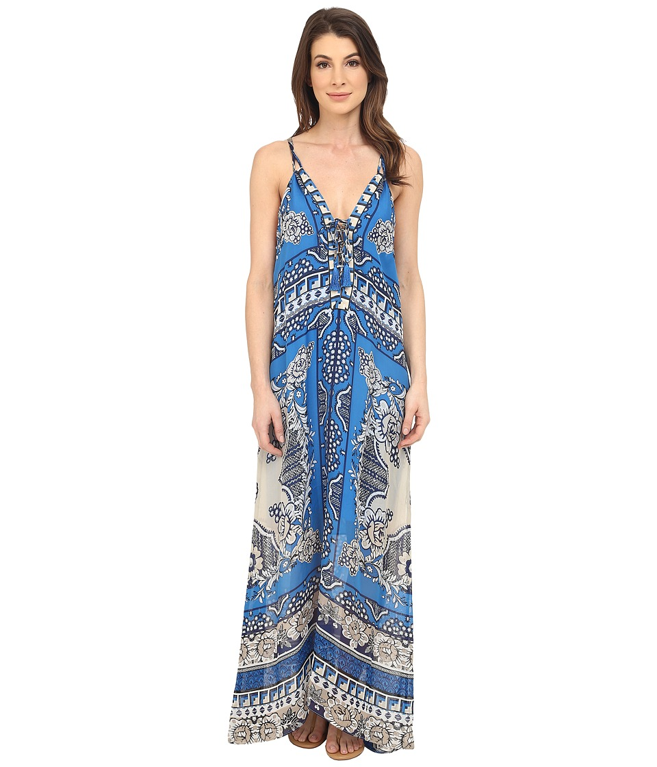 Hale Bob - Floral Fusion Silk Maxi Dress (Blue) Women's Dress