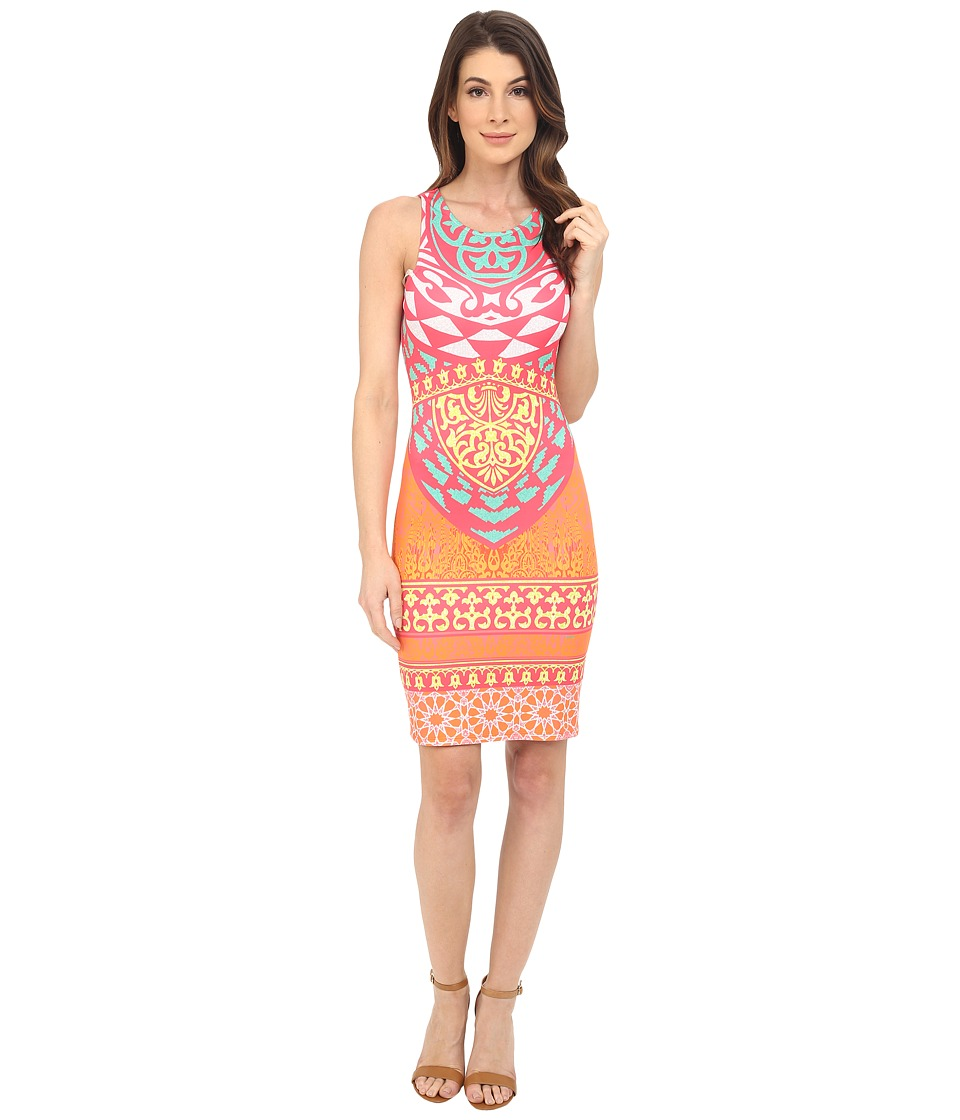 Hale Bob - Tribal Wave Neoprene Dress (Fuchsia) Women's Dress