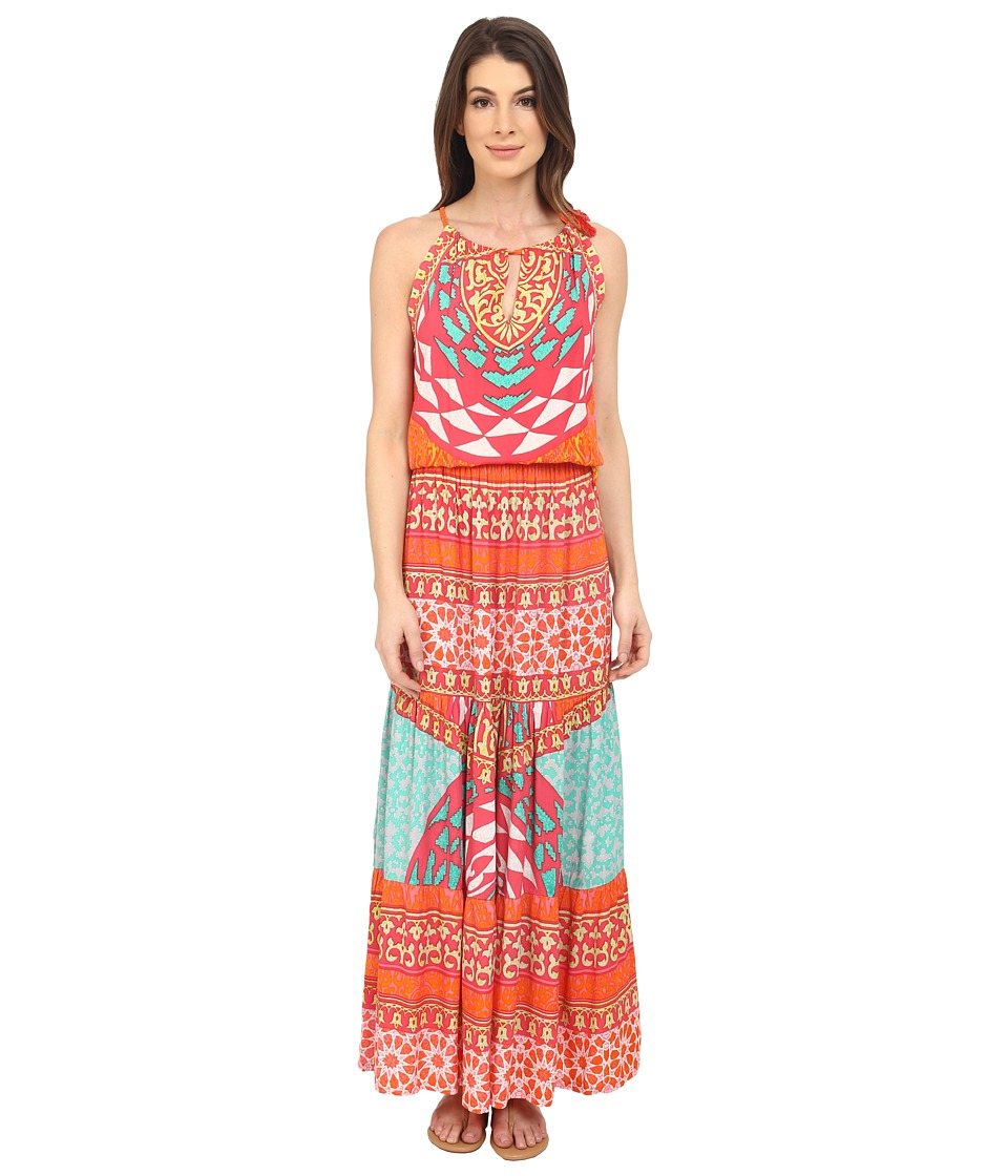 Hale Bob - Tribal Wave Maxi Dress (Fuchsia) Women's Dress