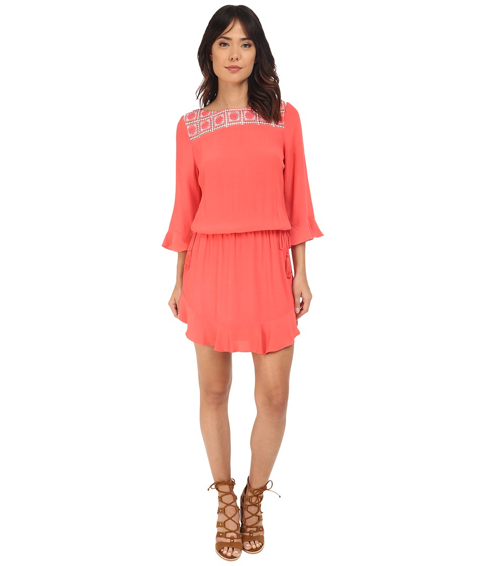 Hale Bob - Urban Bohemian Dress w/ Crochet Detail (Coral) Women's Dress