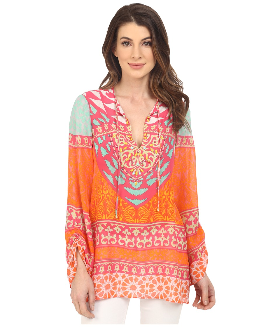 Hale Bob - Tribal Wave Silk Tunic (Fuchsia) Women's Blouse