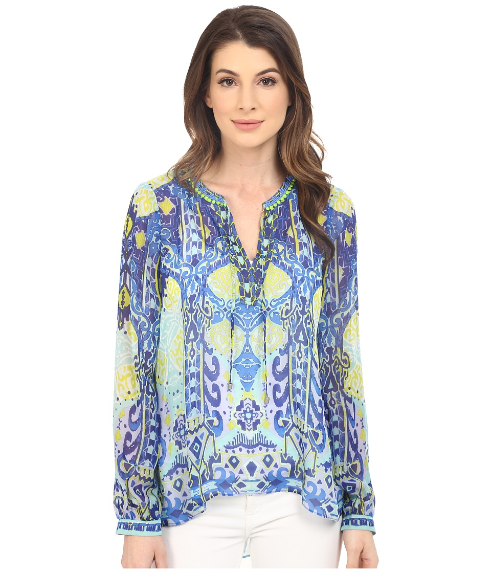 Hale Bob - Eye Candy Long Sleeve Silk Blouse (Blue) Women's Blouse plus size,  plus size fashion plus size appare