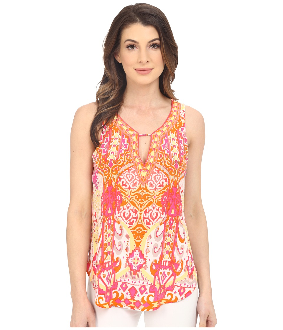 Hale Bob - Eye Candy Silk Sleeveless Top (Coral) Women's Sleeveless