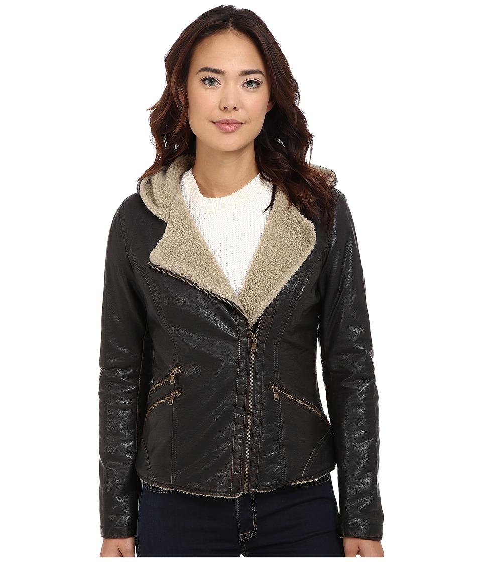 Levi's(r) - Asymmetrical Faux Leather Hooded Moto w/ Sherpa (Dark Brown) Women's Coat