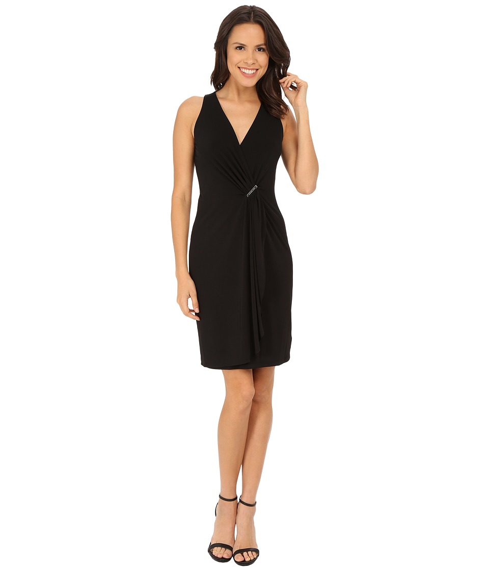 MICHAEL Michael Kors - Cascade Wrap Dress (Black/Silver) Women