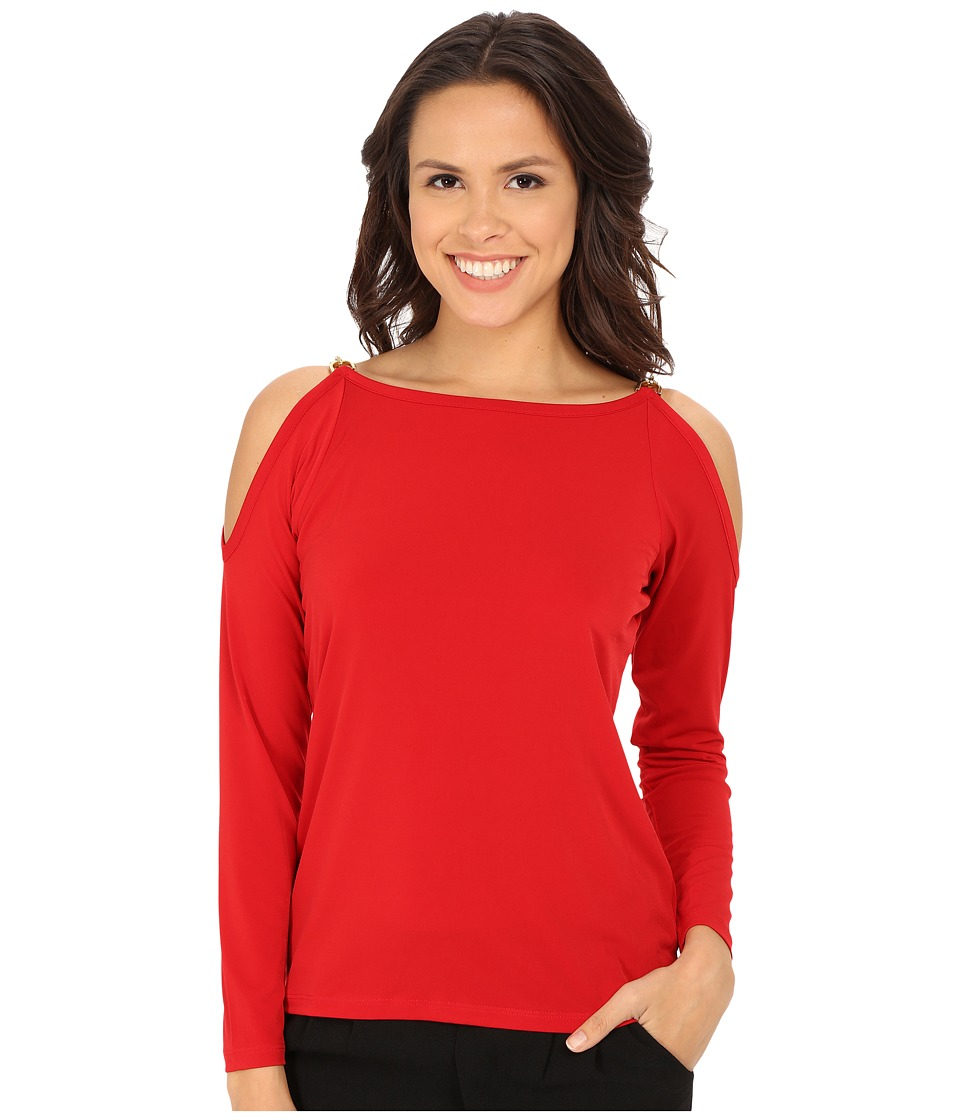 MICHAEL Michael Kors - Oval Link Cold Shoulder Top (Red Blaze) Women