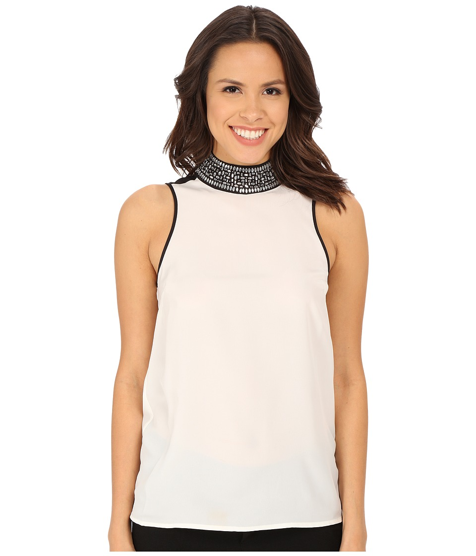 MICHAEL Michael Kors - Embellished Turtleneck Tank Top (Cream) Women's Blouse