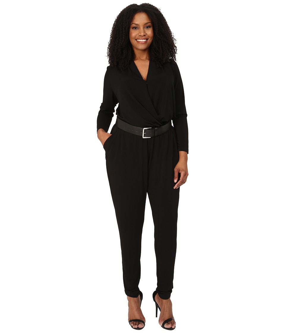 MICHAEL Michael Kors - Plus Size Belted Jumpsuit (Black/Silver) Women's Jumpsuit & Rompers One Piece