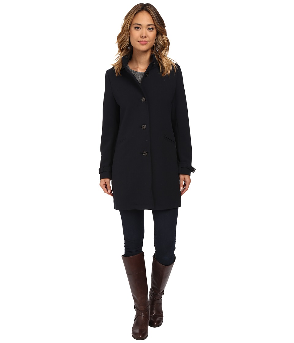 LAUREN Ralph Lauren - Lightweight Hooded A-line Crepe (Navy) Women's Coat