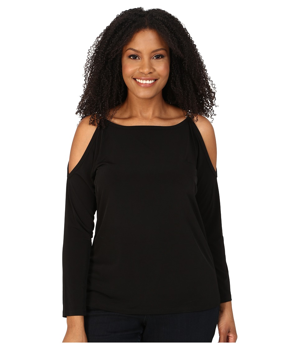 MICHAEL Michael Kors - Plus Size Oval Link Cold Shoulder Top (Black/Silver) Women's T Shirt
