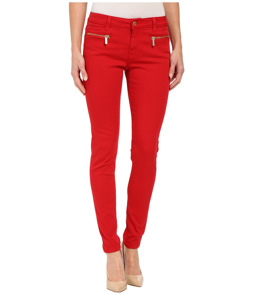 MICHAEL Michael Kors - Denim Color Skinny w/ Zip in Red Blaze (Red Blaze) Women