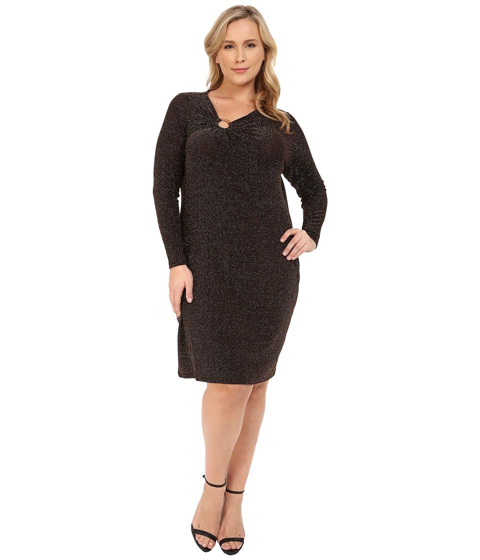 MICHAEL Michael Kors Plus Size Asymmetrical Logo Ring Dress (Chocolate/Gold) Women