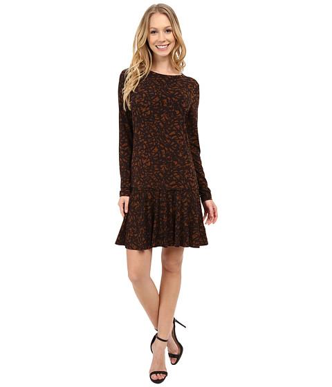 MICHAEL Michael Kors - Atherton Long Sleeve Flare Dress (Caramel) Women