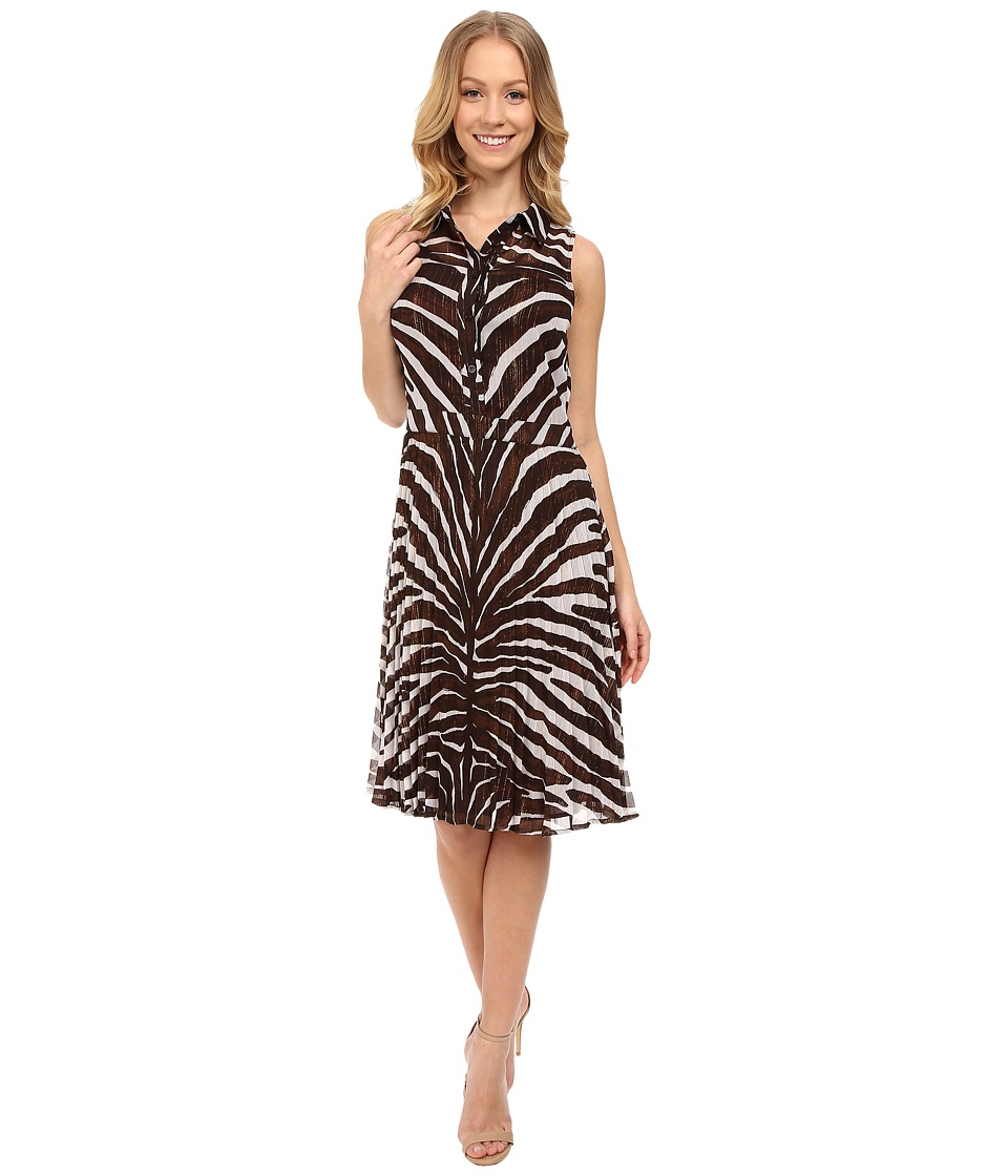 MICHAEL Michael Kors - Zahra Pleated Dress (Chocolate) Women's Dress