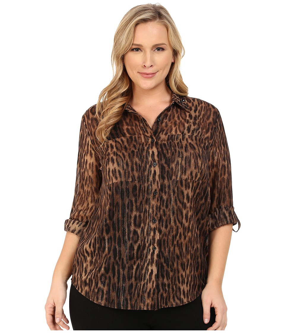 MICHAEL Michael Kors - Plus Size Lurex Embellished Button Down Top (Dark Camel) Women's Clothing