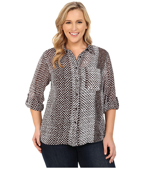 MICHAEL Michael Kors - Plus Size Kobe Hi-Lo Button Down (Chocolate/White) Women