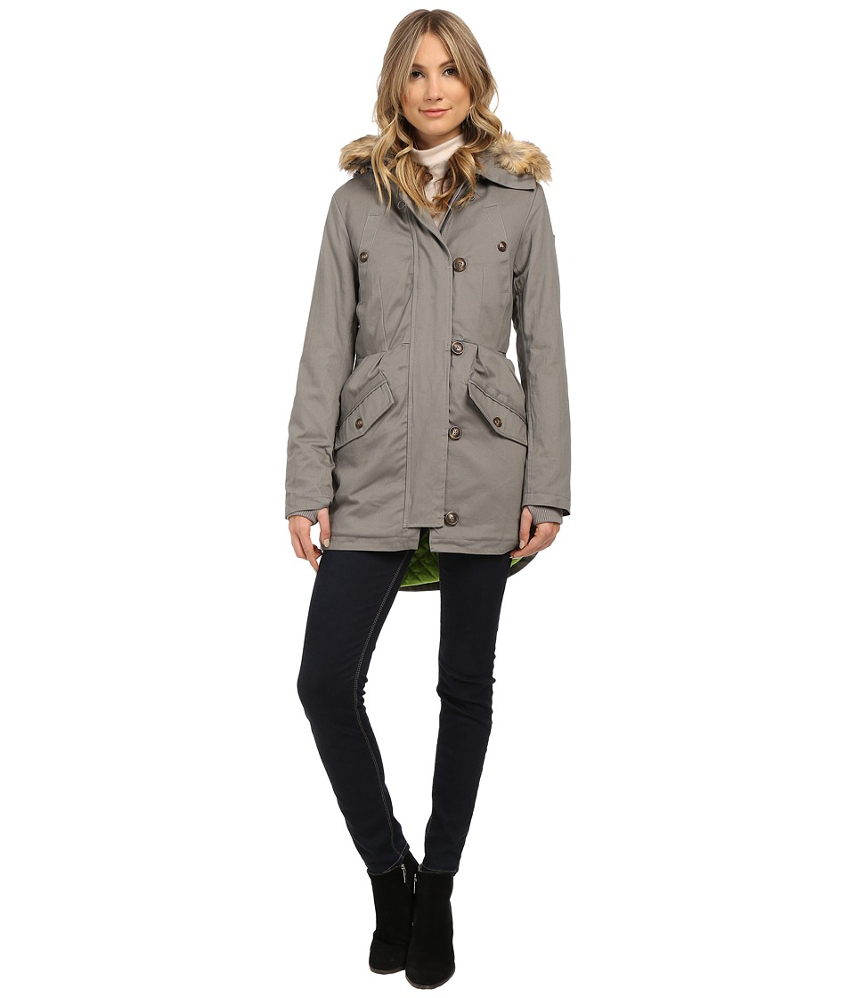 Sam Edelman - Cotton Anorak w/ Pleated Detail (Charcoal) Women's Coat