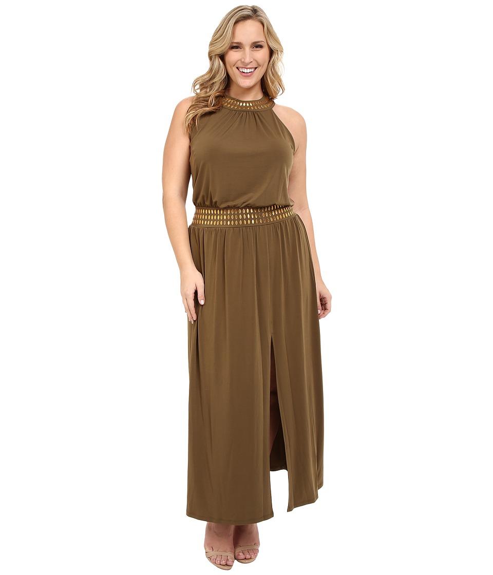 MICHAEL Michael Kors Plus Size Studded Halter Maxi (Duffle) Women