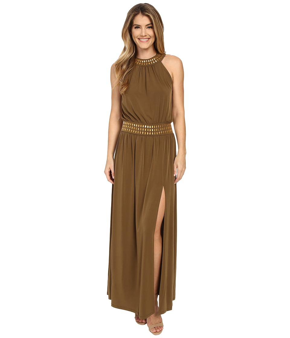 MICHAEL Michael Kors - Studded Halter Maxi (Duffle) Women's Dress