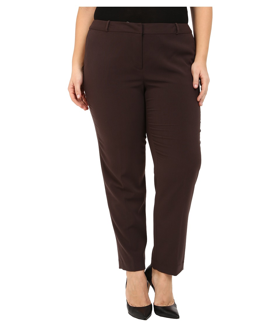 MICHAEL Michael Kors - Plus Size Wellesley Ankle Pants (Chocolate) Women's Casual Pants