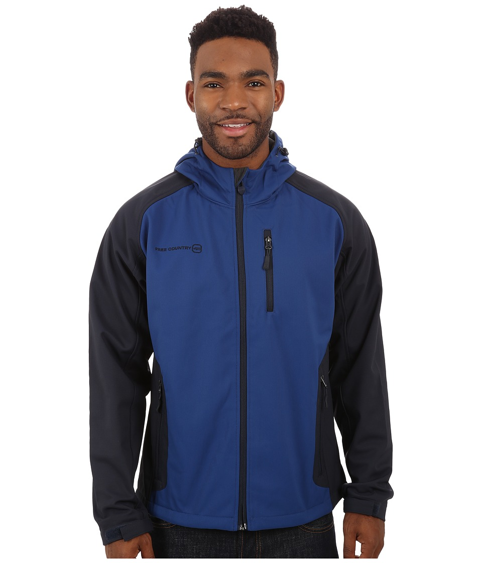 Free Country - Cubic Dobby Softshell (Ultra Blue/Navy) Men's Coat