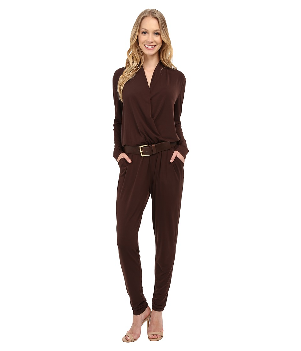 MICHAEL Michael Kors - Belted Jumpsuit (Chocolate) Women's Jumpsuit & Rompers One Piece