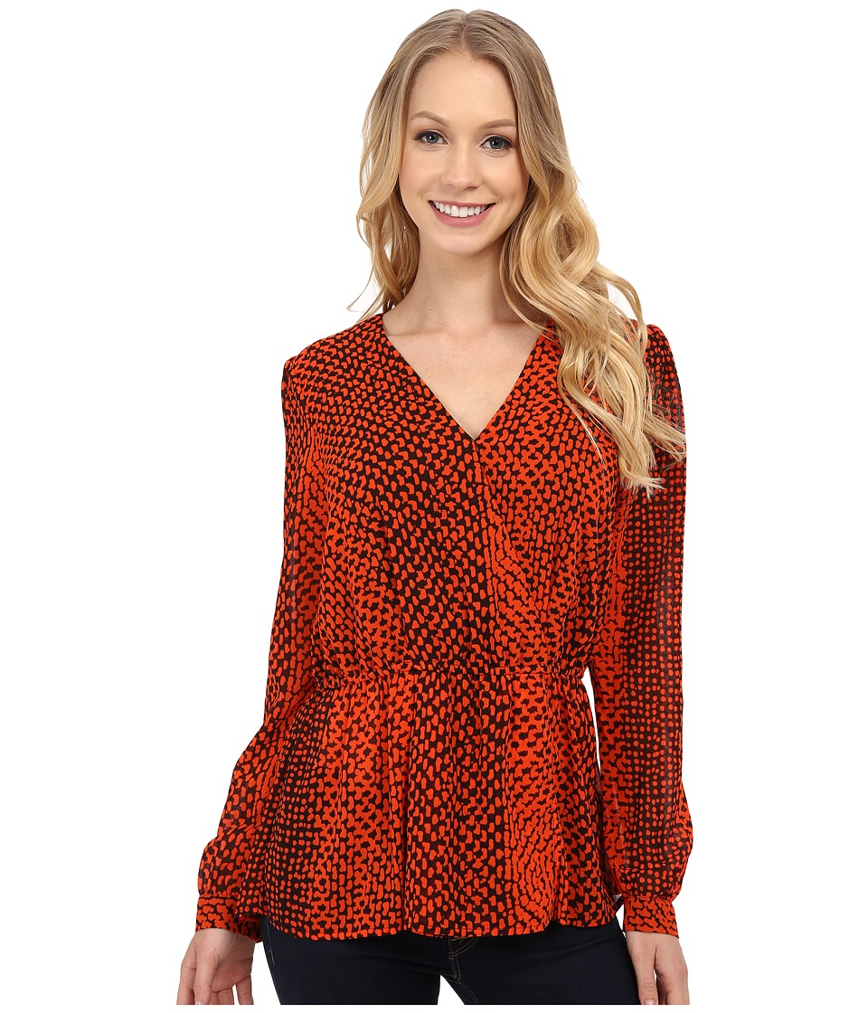 MICHAEL Michael Kors - Kobe Peplum Top (Chocolate/Mandarin) Women's Blouse