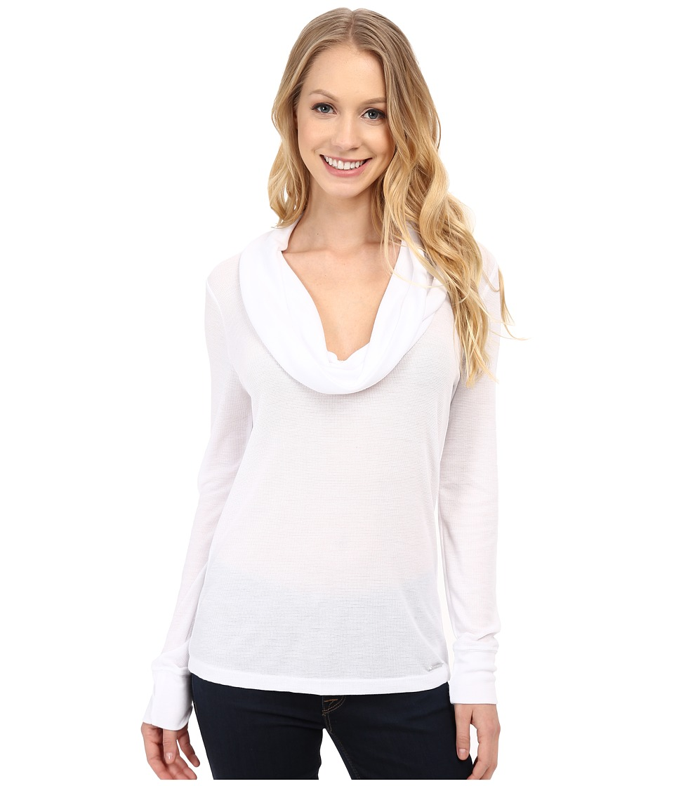 MICHAEL Michael Kors - Long Sleeve Raglan Stripe Waffle Top (White) Women's Sweater