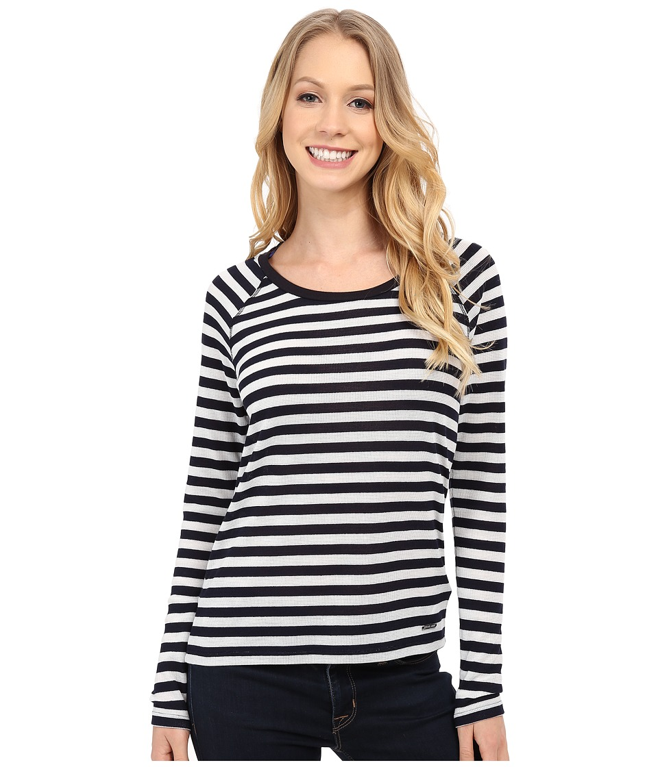 MICHAEL Michael Kors - Long Sleeve Raglan Stripe Waffle Top (New Navy) Women's Clothing
