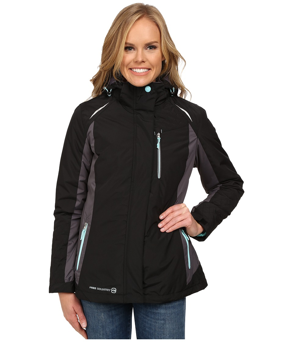 Free Country - 3-in-1 Systems Jacket (Black/Mineral Grey/Whisper Blue) Women's Coat