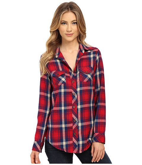 Angie - Long Sleeve Plaid Shirt (Red/Blue) Women's Clothing