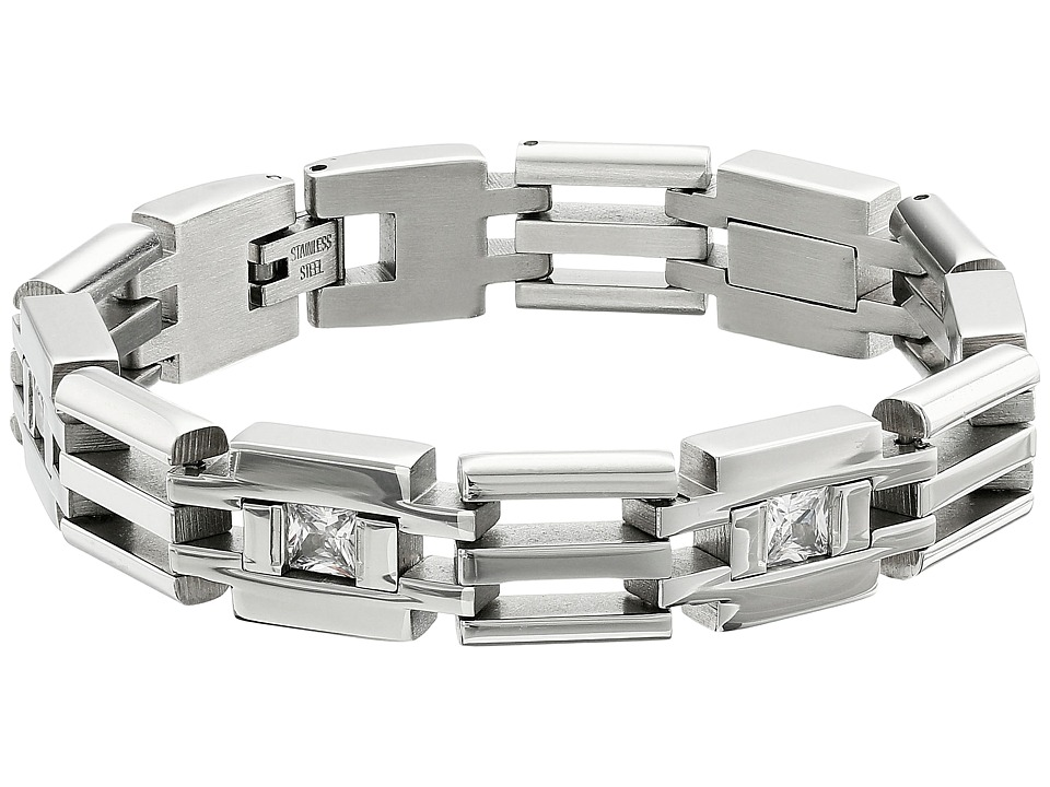 Stacy Adams - Stainless Cut Out Link Bracelet with Cubic Zirconia (Silver) Bracelet