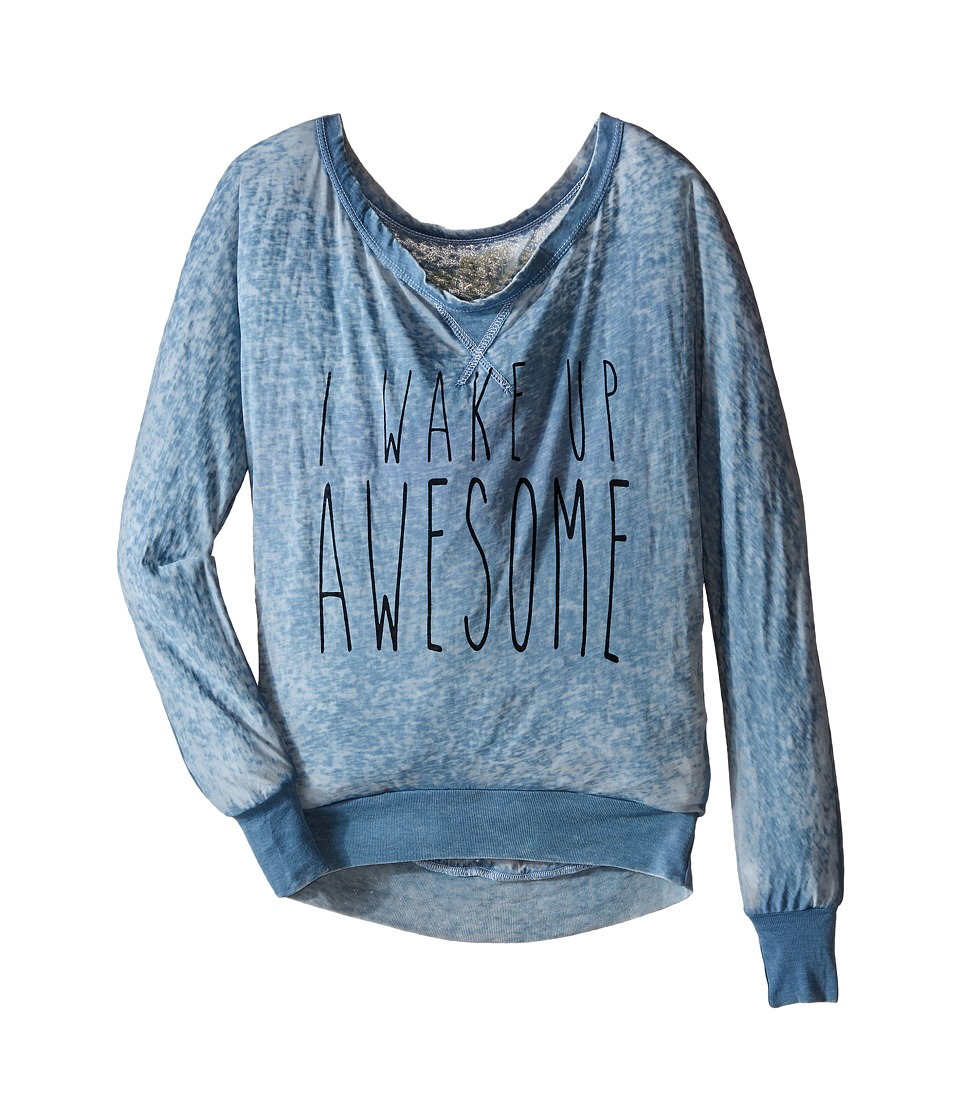 The Original Retro Brand Kids - I Wake Up Awesome Pullover (Big Kids) (Blue) Girl's T Shirt