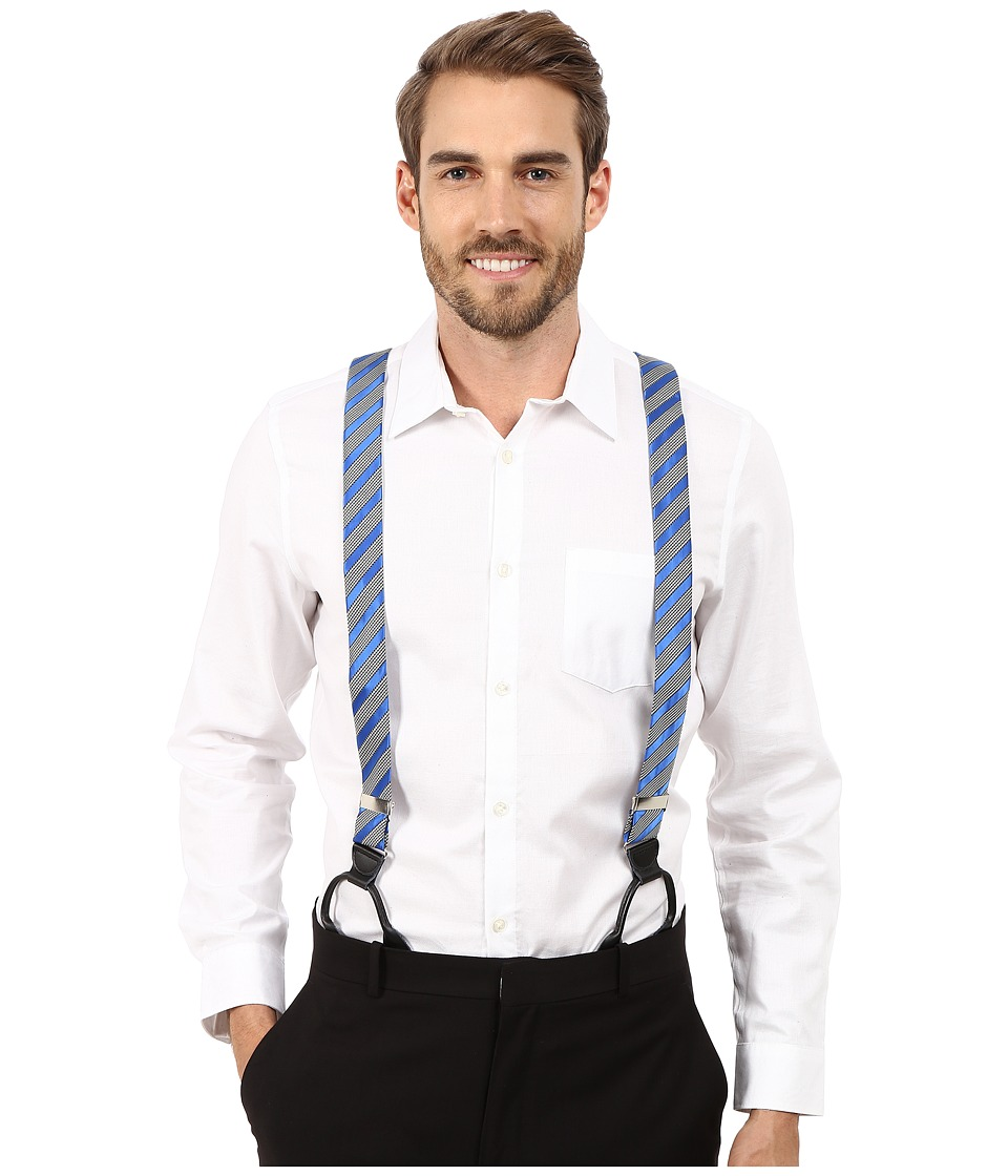 Stacy Adams - Gingham Striped Button On Suspenders (Royal) Men's Belts