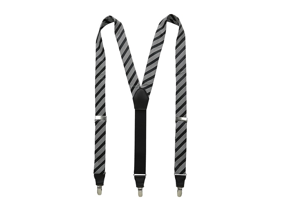 Stacy Adams - Gingham Striped Button On Suspenders (Black) Men's Belts