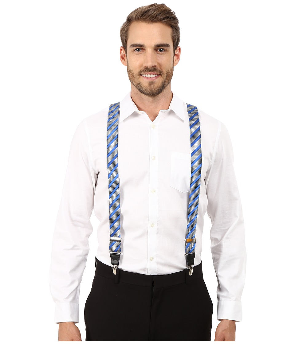 Stacy Adams - Gingham Striped Clip On Suspenders (Royal) Men's Belts