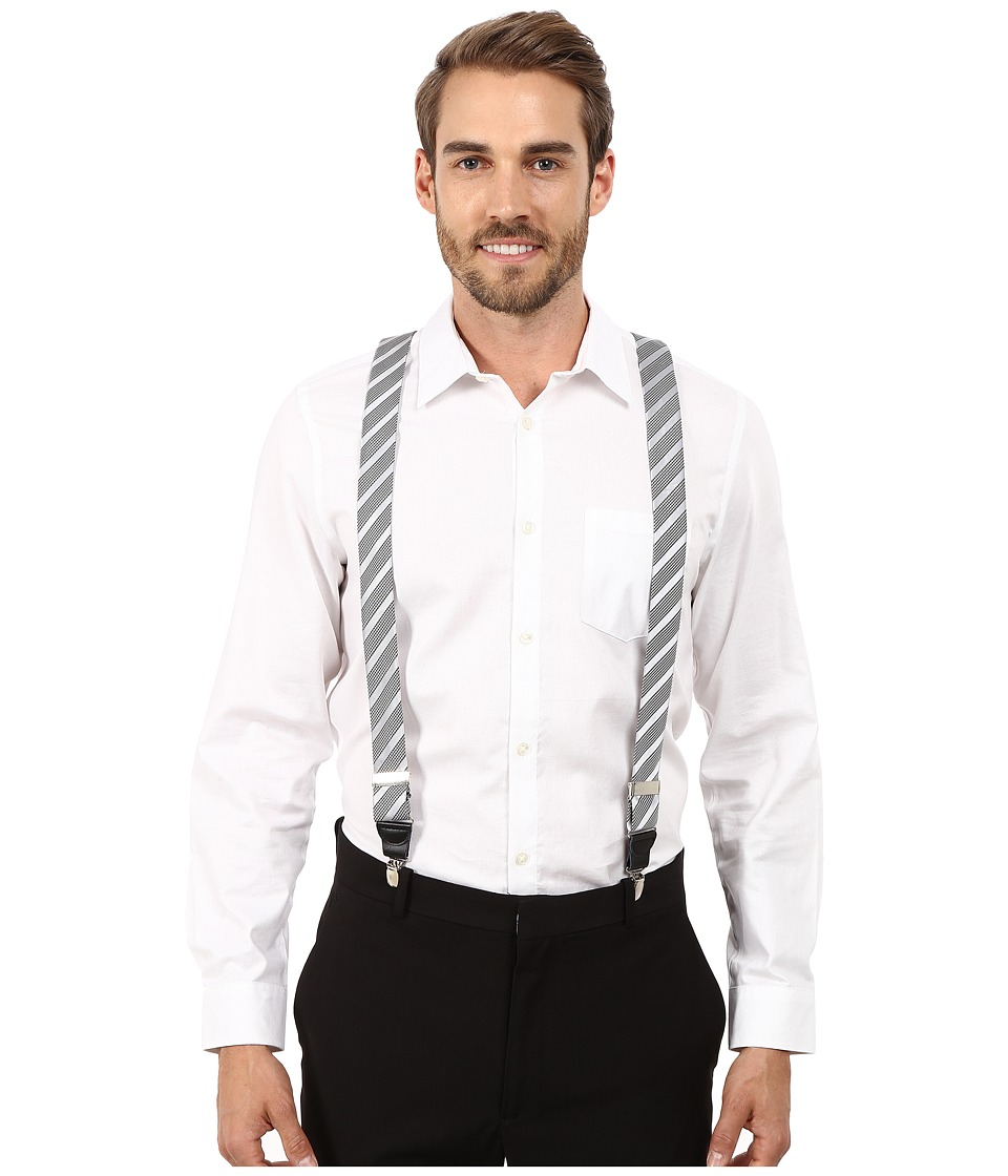 Stacy Adams - Gingham Striped Clip On Suspenders (Silver) Men's Belts