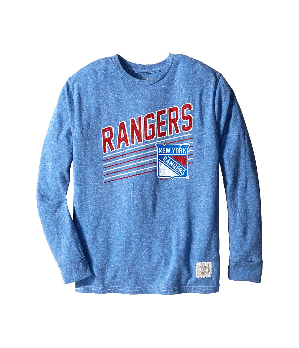 The Original Retro Brand Kids - New York Rangers Long Sleeve Tee (Big Kids) (Streaky Royal) Boy's T Shirt