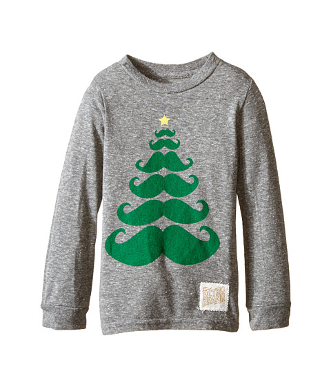 The Original Retro Brand Kids - Long Sleeve Mustache Tree Tee (Toddler) (Streaky Grey) Boy