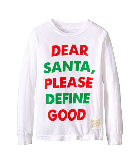 The Original Retro Brand Kids - Dear Santa Long Sleeve Tee (Little Kids/Big Kids) (White) Boy
