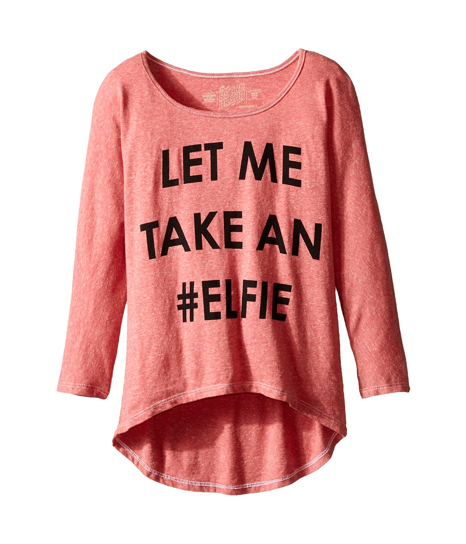 The Original Retro Brand Kids - Let Me Take An Elfie Dolman (Big Kids) (Streaky Red) Girl