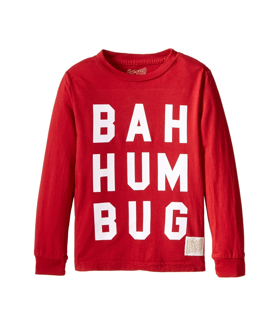 The Original Retro Brand Kids - Bah Hum Bug Long Sleeve Tee (Toddler) (Dark Red) Boy