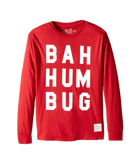The Original Retro Brand Kids - Bah Hum Bug Long Sleeve Tee (Big Kids) (Dark Red) Boy's T Shirt