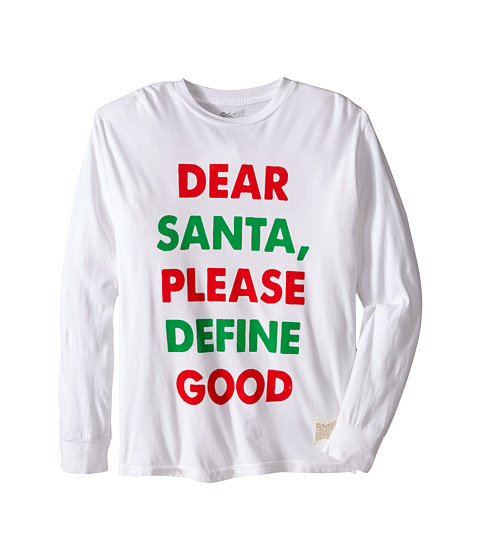 The Original Retro Brand Kids - Dear Santa Long Sleeve Tee (Big Kids) (White) Boy's T Shirt