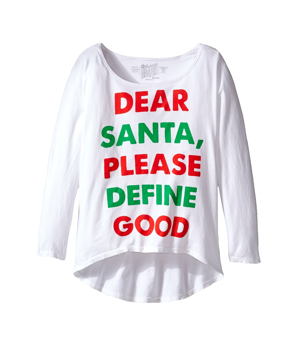 The Original Retro Brand Kids - Dear Santa Dolman Tee (Big Kids) (White) Girl's T Shirt