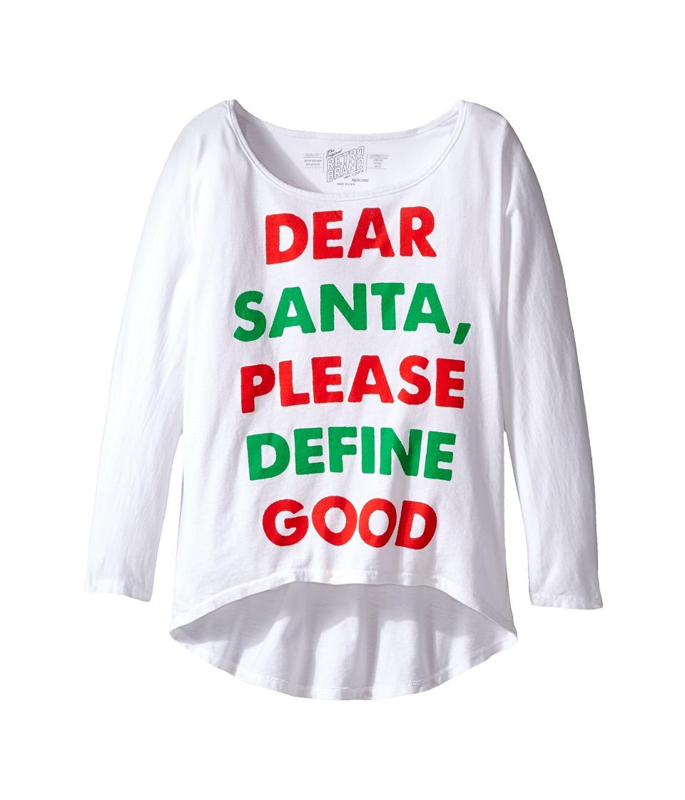 The Original Retro Brand Kids - Dear Santa Dolman Tee (Big Kids) (White) Girl's T Shirt