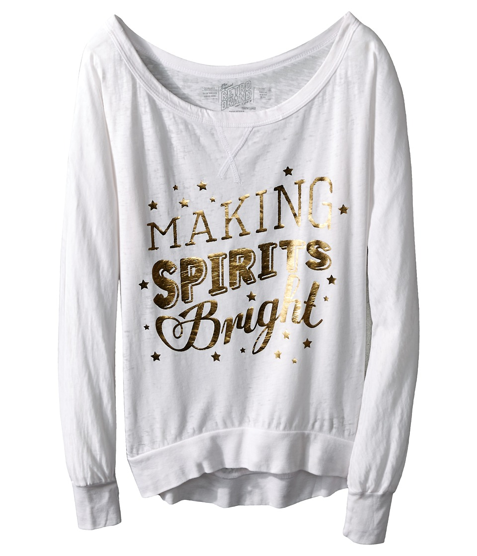 The Original Retro Brand Kids - Making Spirits Bright Long Sleeve Pullover (Big Kids) (White) Girl