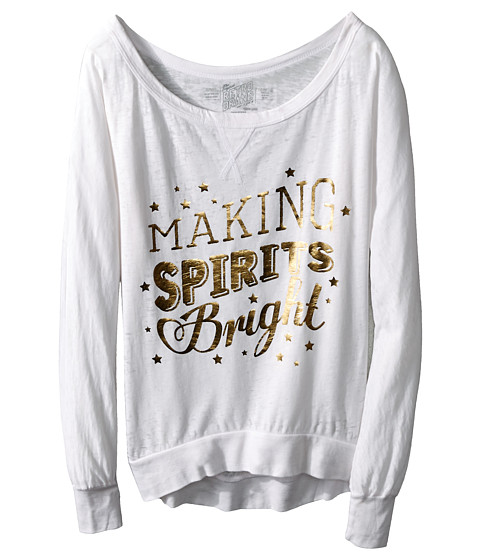 The Original Retro Brand Kids - Making Spirits Bright Long Sleeve Pullover (Big Kids) (White) Girl's Long Sleeve Pullover